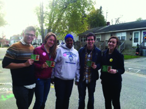 Members of the Bates Democrats with Zam Zam Mohamed of Lewiston.