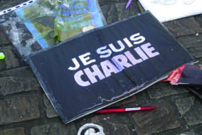 The streets of Nantes are filled with tributes to Charlie Hebdo. JULIA MONGEAU/THE BATES STUDENT