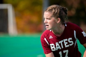 First-year Jesse Moriarty scored Bates' only goal against Bowdoin.   (PHYLLIS GRABER JENSEN/BATES COLLEGE)
