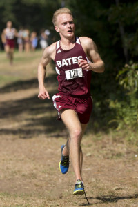 Senior captain Allen Sumrall led the pack of Bates runners at NESCACs.                 (PHYLLIS GRABER JENSEN/BATES COLLEGE)