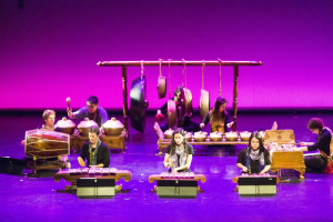 "The Bates Gamelan ensemble performs a piece entitled ""Lancaran Jaranan"" to kick off Sangai Asia Night at the Shaeffer Theatre. Students and staff enjoy a night of performance and expression during the 2016 Arts Crawl on Friday, Jan 29."