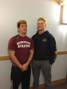 From left to right: Teammates Berto Diaz '16 and Connor Speed '18 display their unique blonde look. (John Neufeld/The Bates Student)