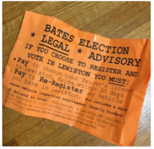 These fliers were dispersed around the Bates College campus early Sunday. (Photo Courtesy Christopher Petrella Twitter)