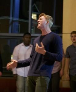 """Ned Thunem from the Deansmen sings """"Let Me Go."""" DREW PERLMUTTER/THE BATES STUDENT"""