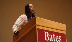 Chamique Holdsclaw gives introductory remarks before the screening of her documentary. JOHN NEUFELD/THE BATES STUDENT