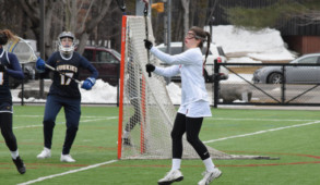 Melanie Mait '18 recieves a pass against Southern Maine in the women's lacrosse game last week. JOHN NEUFELD/THE BATES STUDENT