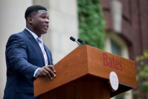 Washington '19 delivers speech at convocation. PHYLLIS GRABER JENSEN/BATES COLLEGE