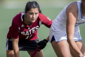 Taylor Lough '19 gets ready to score her 10th goal of the season in loss to Middlebury. PHYLLIS GRABER JENSON/BATES COLLEGE