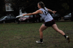 Frisbee player gets ready to make a pass. MADDY SMITH/THE BATES STUDENT