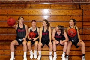 Senior members of the women's basketball team share a laugh and are excited about the upcoming season. OLIVIA GILBERT/THE BATES STUDENT